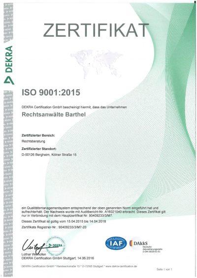 DEKRA-Zertifikat 2015 ISO 9001 2015