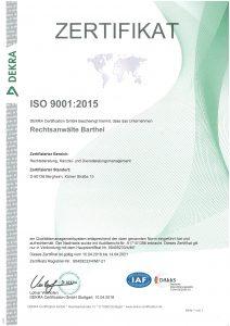 DEKRA-Zertifikat 2015 ISO 9001 2015 Bergheim