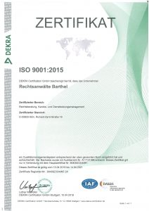 DEKRA-Zertifikat 2015 ISO 9001 2015 Köln