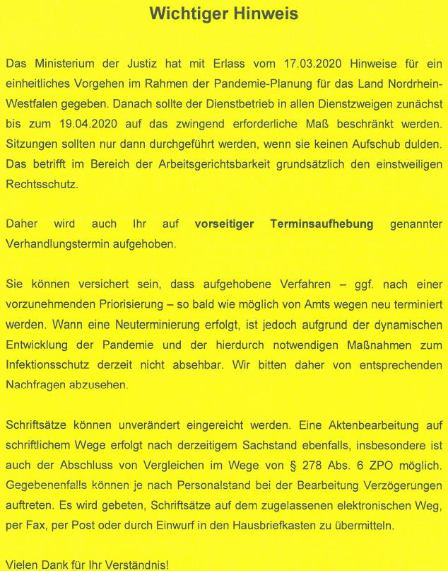 Corona - Hinweise der Justizverwaltung NRW